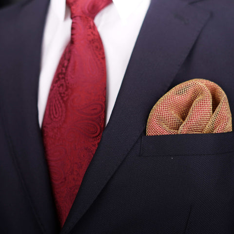 Regal Net Red Pocket Square
