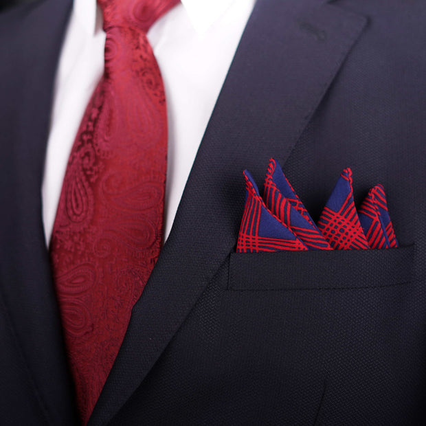 Old School Geometric Blue Pocket Square