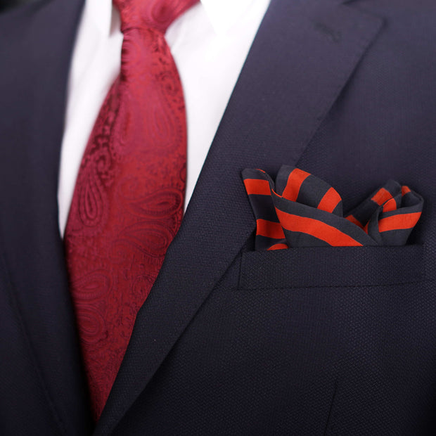 Sun & Sand Striped Orange Pocket Square