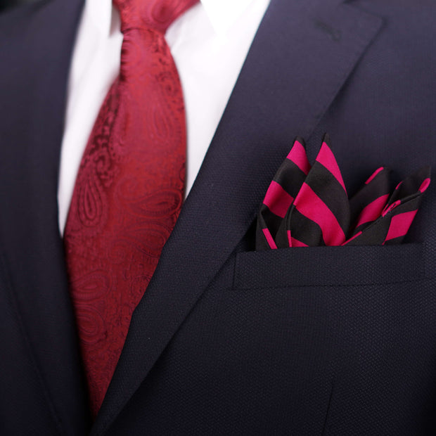 After 8 Striped Pink Pocket Square