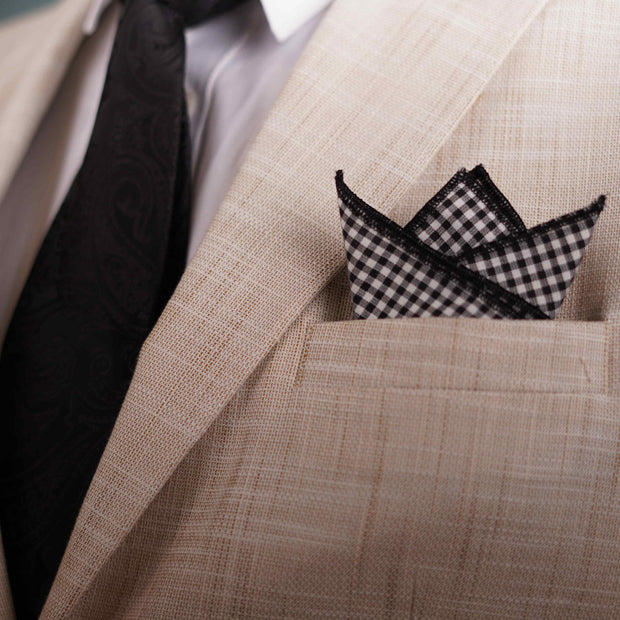 Monochrome  Geometric Black Pocket Square