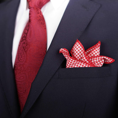 After 8  Geometric Red Pocket Square