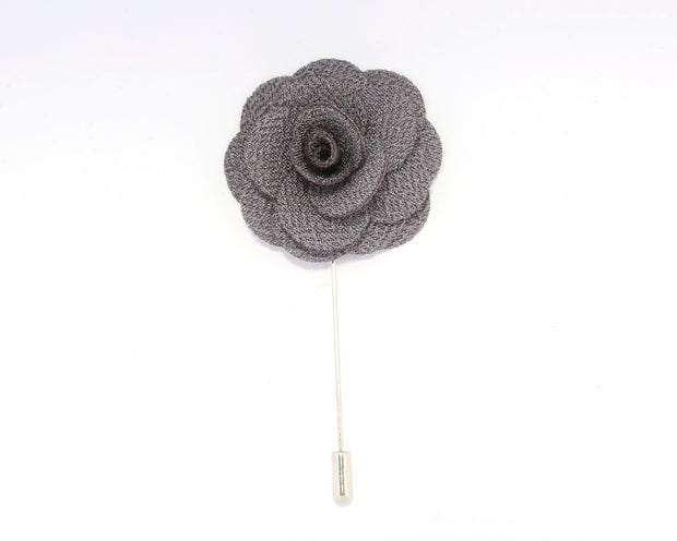 Grey Solid Lisianthus Lapel Pin