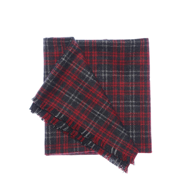 Red & Grey Plaid Tweed Scarf