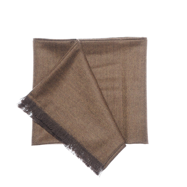 Peanut Brown Herringbone Tweed Scarf