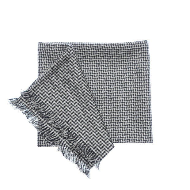Black & White Houndstooth Tweed Scarf