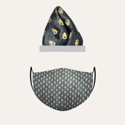 After 8 Combo - Black Brocade Pocket Square and Protection Mask