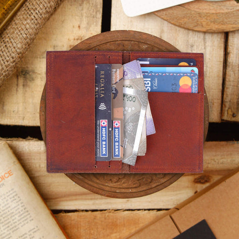 Journey Card & Cash Leather Wallet - Cognac