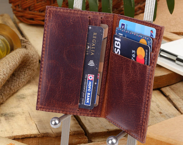 Journey Card & Cash Leather Wallet - Dark Rum