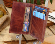 Classic Card & Cash Leather Wallet - Walnut