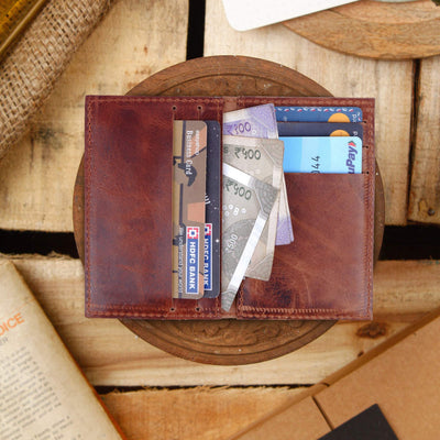 Journey Card & Cash Leather Wallet - Walnut