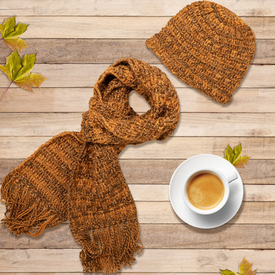 Tawny Brown Crochet Scarf and Cap