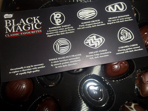 Inside a vintage box of Black Magic chocolates