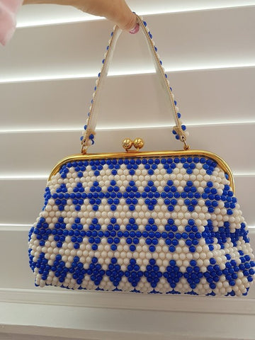 1960s blue and white beaded bag