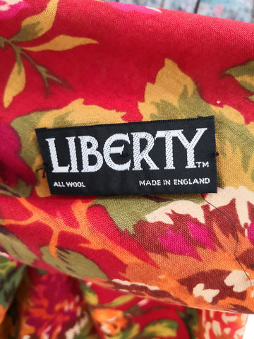 Close up of LIBERTY label on vintage scarf