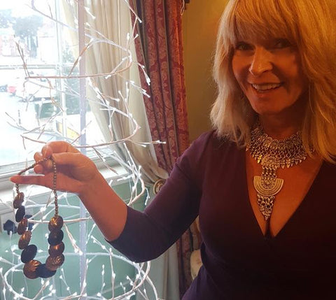 Toyah with her necklace