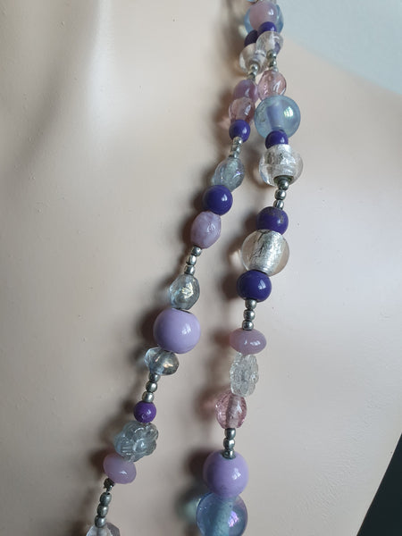 PURPLE BEADS LONG NECKLACE