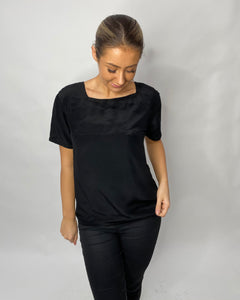 1980s IRKA DESIGNER BLACK SILK TOP