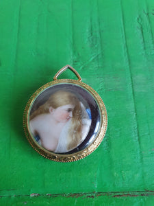 ANTIQUE PAINTED LADY PENDANT
