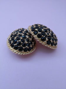 VINTAGE LES BERNARD SIGNED BLACK DIAMANTE EARRINGS
