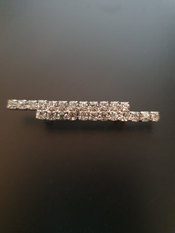 VINTAGE DIAMANTE DOUBLE BAR BROOCH