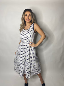 1970s JINTY'S NAVY BLUE AND WHITE POLKA DOT DRESS