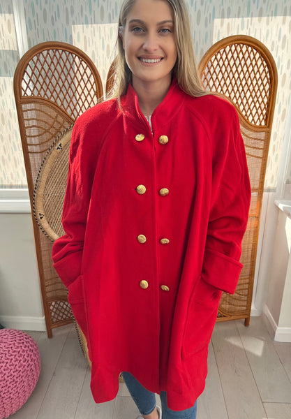 1980s WINDSMOOR RED COAT WITH GOLD BUTTONS