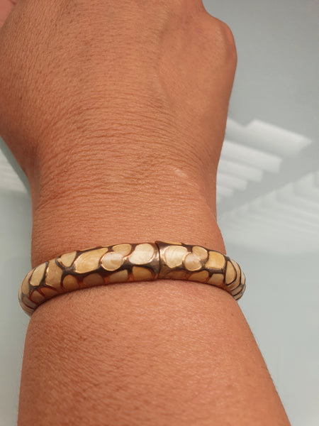 MOSAIC CREAM BANGLE BRACELET