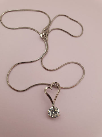 LARGE 18K GOLD PLATED DIAMANTE PENDANT HEART NECKLACE