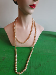 VINTAGE LONG STRAND OF PEARLS NECKLACE