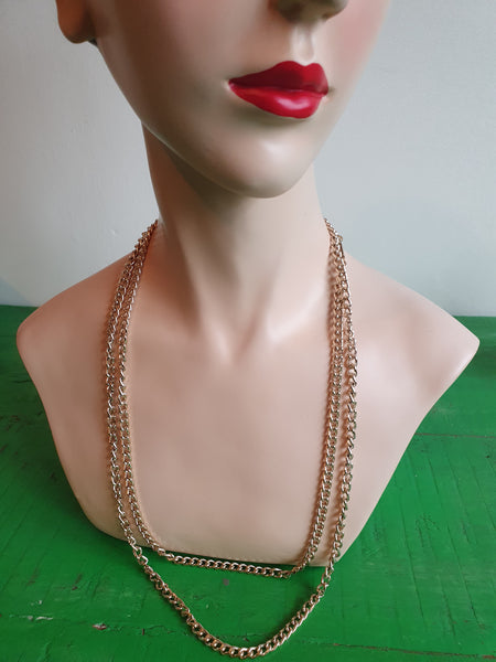 1980s LONG GOLD CHAIN NECKLACE