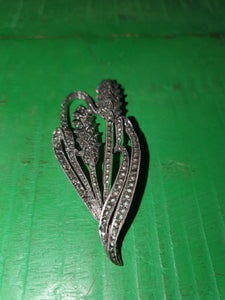 ART DECO REAL SILVER LARGE MARCASITE THISTLE BROOCH