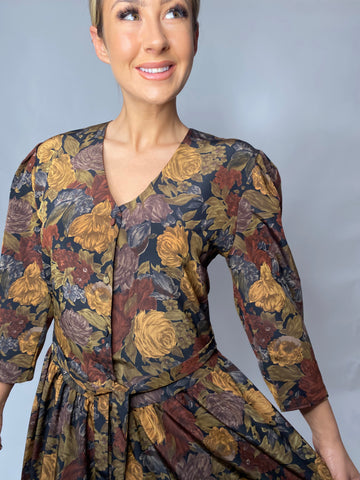 1980s BROWN AND YELLOW LARGE  FLORALS DRESS