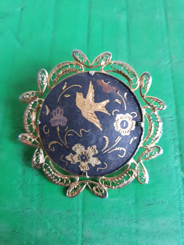 1970s DAMASCENE BIRD AND FLOWERS BROOCH