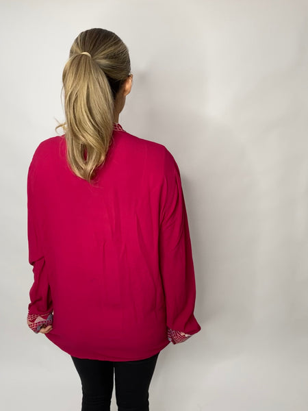 1990s GHOST DESIGNER VINTAGE CHERRY RED BOHO TOP