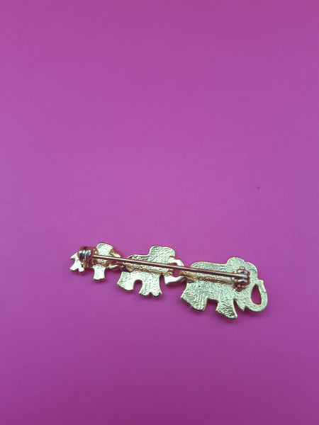 VINTAGE GOLD ELEPHANTS BROOCH