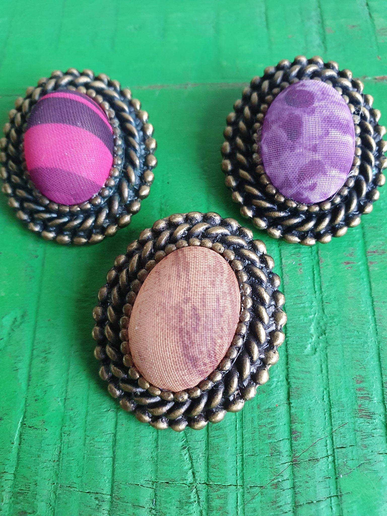 SET OF THREE VINTAGE COLOURFUL SCARF CLIPS