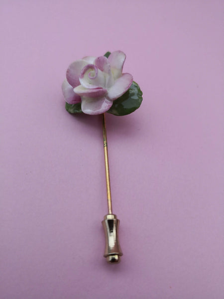 VINTAGE FINE BONE CHINA FLOWER PIN
