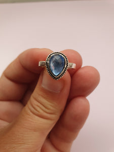 SILVER TONE RING WITH BLUE STONE
