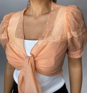 VINTAGE PEACH LACE COTTON TOP