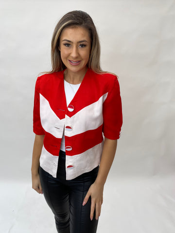 1980s FINK MODELL RED AND WHITE JACKET