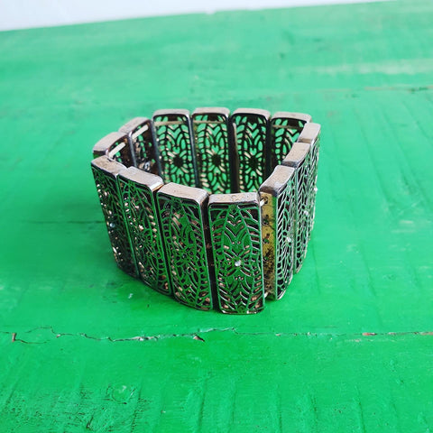 METALLIC AND DIAMANTE STRETCH CUFF BRACELET