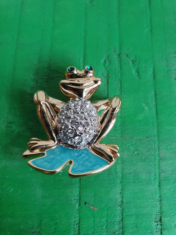 1980s BLUE AND GOLD CRYSTAL FROG BROOCH