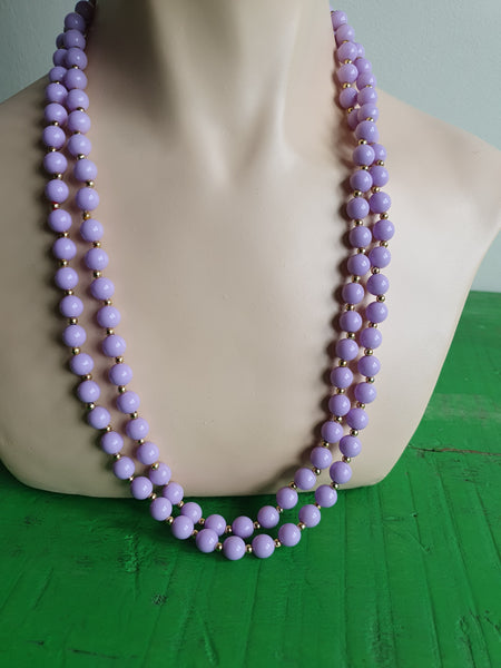1980s PASTEL LILAC BEADS NECKLACE