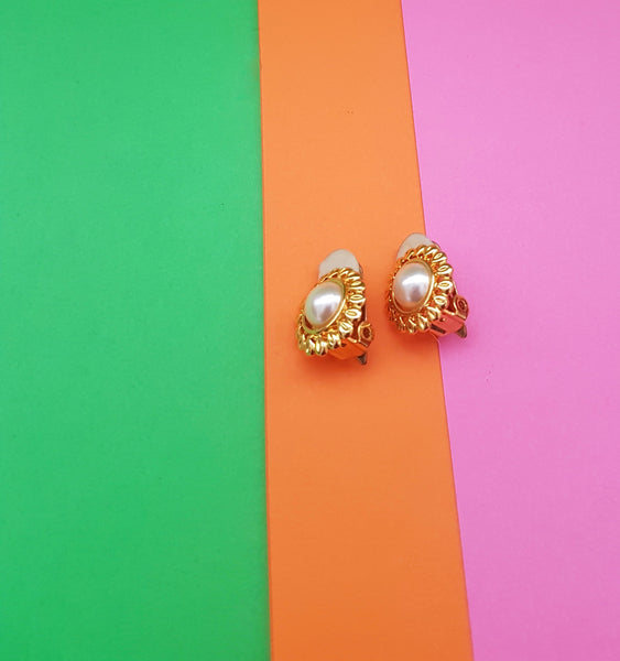 pearl and gold vintage 1980s earrings