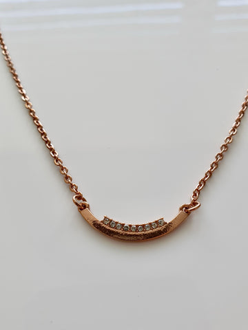 BRONZE NECKLACE WITH DIAMANTE PENDANT