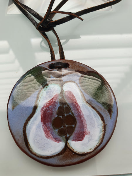 BUTE POTTERY CERAMIC FRUIT PENDANT ON LEATHER CHAIN