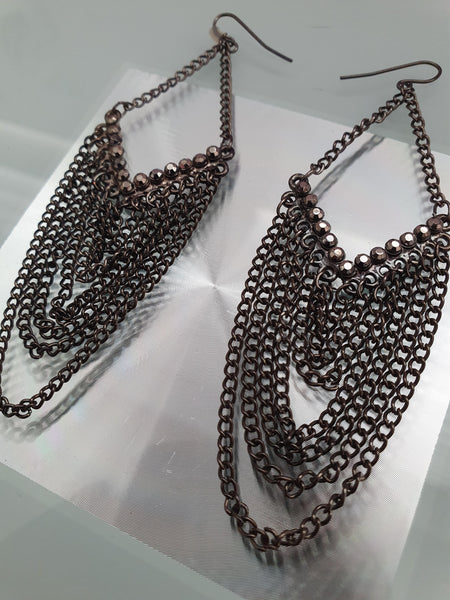 LARGE PAIR OF CHAIN MAIL CHANDELIER EARRINGS