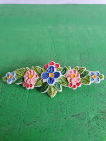 VINTAGE COLOURFUL FLOWER BROOCH