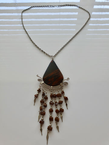 SILVER WATERFALL NECKLACE WITH DARK  BROWN PENDANT